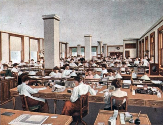Vintage illustration of an office