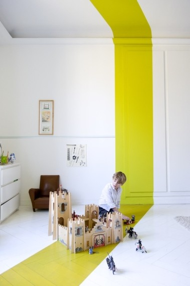 Yellow stripe through room