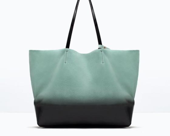 Aqua suede leather handbag, €79.99 at Zara