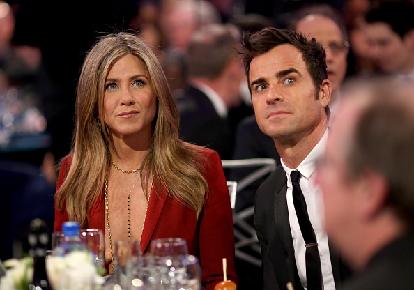 LOS ANGELES, CA - JANUARY 15: (EXCLUSIVE COVERAGE) Actors Jennifer Aniston (L) and Justin Theroux during the 20th annual Critics' Choice Movie Awards at the Hollywood Palladium on January 15, 2015 in Los Angeles, California. (Photo by Christopher Polk/Getty Images for CCMA)