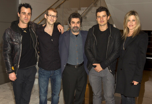 """LOS ANGELES, CA - JANUARY 09: Actors Justin Theroux, Jason Baldwin, director Joe Berlinger, actor Orlando Bloom and actress Jennifer Aniston attend the screening of HBO's """"Paradise Lost 3: Purgatory"""" at the Ray Kurtzman Theater on January 9, 2012 in Los Angeles, California. (Photo by Christopher Polk/Getty Images For HBO Films)"""
