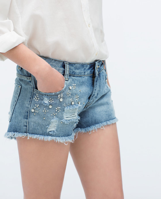 A pair of denim shorts