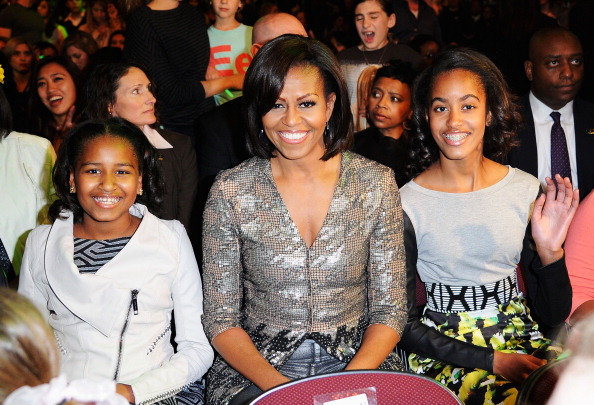 LOS ANGELES, CA - MARCH 31: (L-R) Sasha Obama, First Lady Michelle Obama and Malia Obama at Nickelodeon's 25th Annual Kids' Choice Awards held at Galen Center on March 31, 2012 in Los Angeles, California. (Photo by Kevork Djansezian/Getty Images)