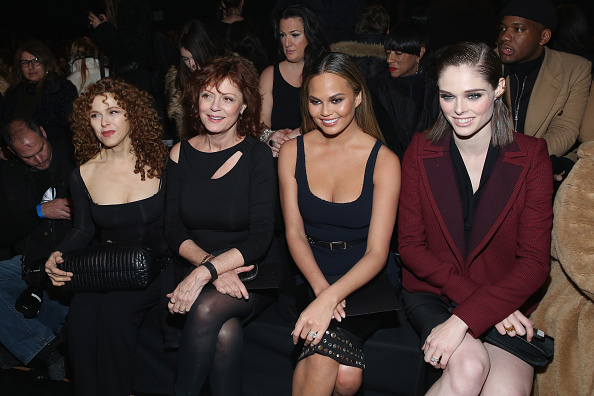 NEW YORK, NY - FEBRUARY 16: (L-R) Bernadette Peters, Susan Sarandon, Chrissy Teigen and Coco Rocha attend the Donna Karan New York fashion show during Mercedes-Benz Fashion Week Fall 2015 on February 16, 2015 in New York City. (Photo by Cindy Ord/Getty Images for Mercedes-Benz Fashion Week)
