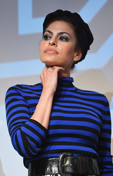 """AUSTIN, TX - MARCH 14: Actress Eva Mendes takes part in a Q&A following the """"Lost River"""" premiere during the 2015 SXSW Music, Film + Interactive Festival at Topfer Theatre at ZACH on March 14, 2015 in Austin, Texas. (Photo by Michael Loccisano/Getty Images for SXSW)"""