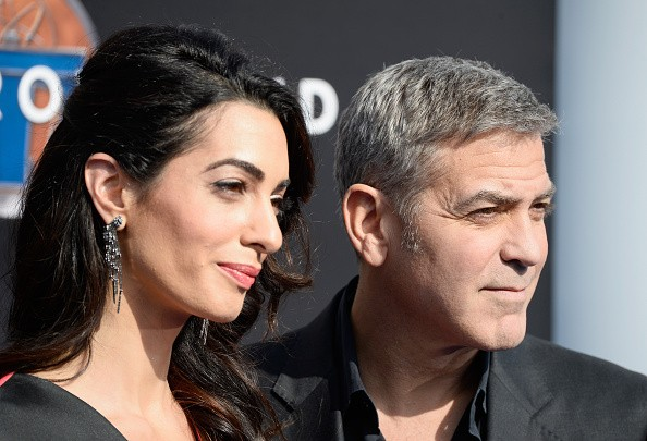 """amal and george clooney attends the premiere ff Disney's """"Tomorrowland"""" at AMC Downtown Disney 12 Theater on May 9, 2015 in Anaheim, California."""