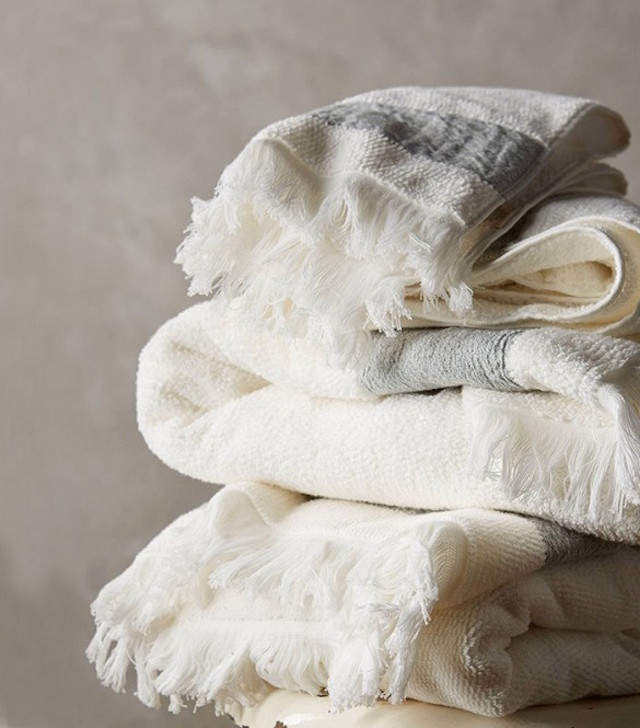 Linen edged towel set, €12 and up, Anthropologie.