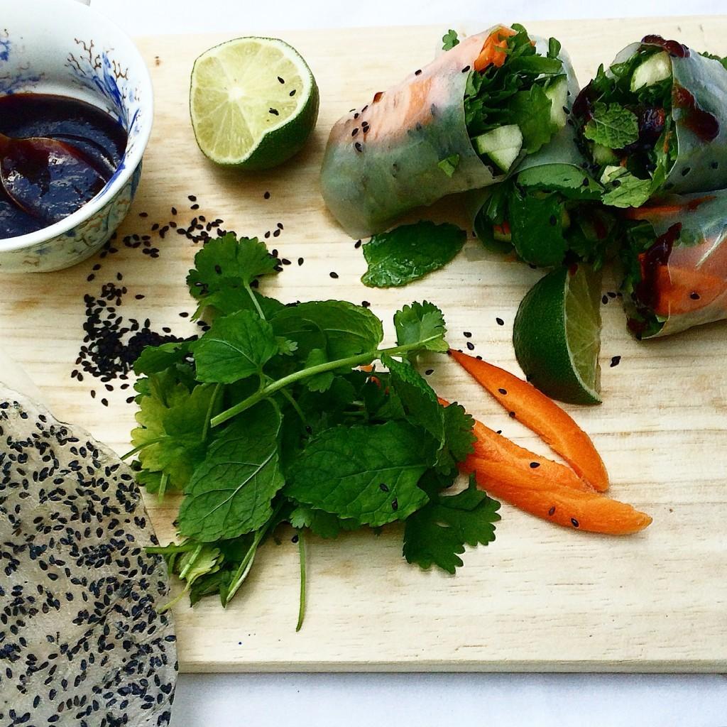 Lunch day vietnamese fresh spring rolls