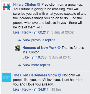 The messages from Ellen DeGeners and Hilary Clinton.