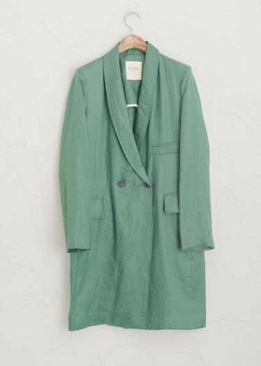 green linen coat