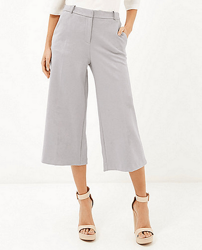 Grey faux suede culotte shorts, €38, River Island