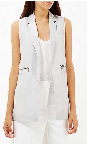 Metallic taffeta sleeveless jacket, €55, River Island
