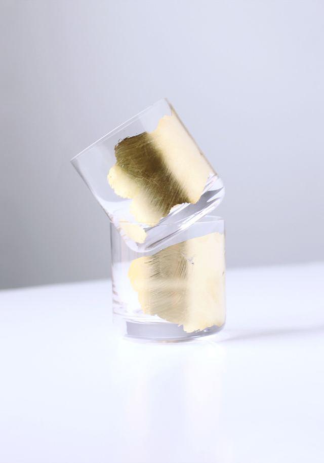 1 Gold Leaf Cocktail Glasses by Kelli Hall Design