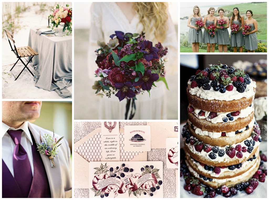 grey and berry wedding