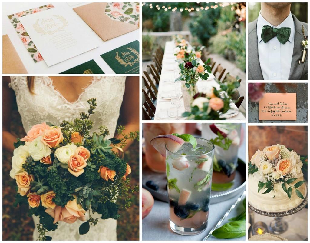 peach & forest green wedding