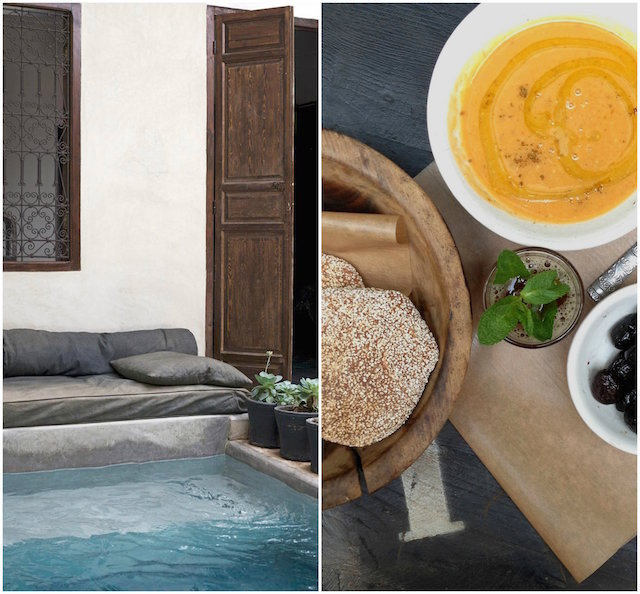 The sparkling courtyard pool and traditional Moroccan fare at La Maison.