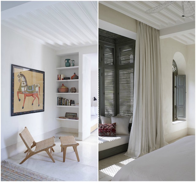 A cool interior at Riad Mena & Beyond with a contemporary feel beside a more traditional sleeping space.