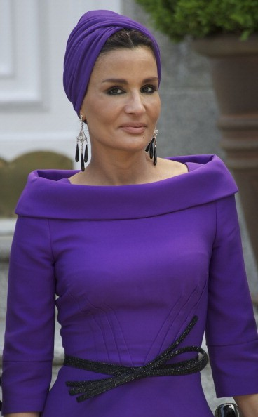 MADRID, SPAIN - APRIL 25:  Sheikha Mozah Bint Nasser Al-Missned arrives for Lunch at El Pardo Palace on April 25, 2011 in Madrid, Spain. The Emir of the State of Qatar Sheikh Hamad Bin Khalifa Al-Thani and his wife Sheikha Moza Bint Nasser Al-Missned are on an official visit to Spain.  (Photo by Carlos Alvarez/Getty Images)