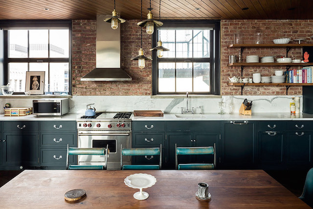 Kirsten Dunst's kitchen, featured on Architectural Digest's website. Photograph by Douglas Elliman.