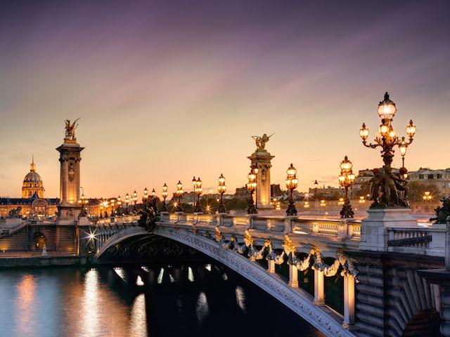 River Seine with lights, Paris, France