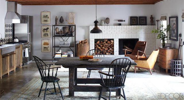 Ellen de Generes and Portia de Rossi's former kitchen, featured in Elle Decor. Photograph by William Abranowicz.