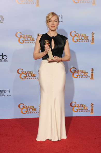 BEVERLY HILLS, CA - JANUARY 15:  Actress Kate Winslet poses in the press room with the Best Performance by an Actress in a Mini-Series or a Motion Picture Made for Television award for 'Mildred Pierce' at the 69th Annual Golden Globe Awards held at the Beverly Hilton Hotel on January 15, 2012 in Beverly Hills, California.  (Photo by Kevin Winter/Getty Images)
