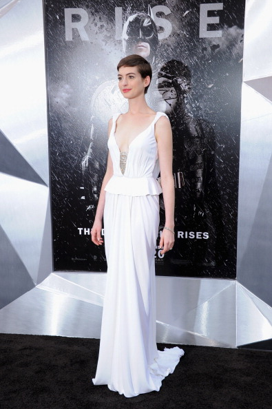 """NEW YORK, NY - JULY 16: Actress Anne Hathaway attends """"The Dark Knight Rises"""" premiere at AMC Lincoln Square Theater on July 16, 2012 in New York City. (Photo by Larry Busacca/Getty Images)"""