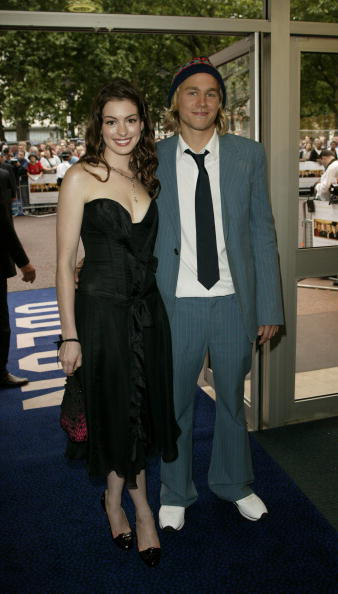 LONDON - JUNE 22: (UK NEWSPAPERS OUT) Cast members Charlie Hunnam and Anne Hathaway arrive at the Nicholas Nickleby premiere at the Warner Village Cinema West End June 22, 2003 in London, United Kingdom. (Photo by Dave Hogan/Getty Images)
