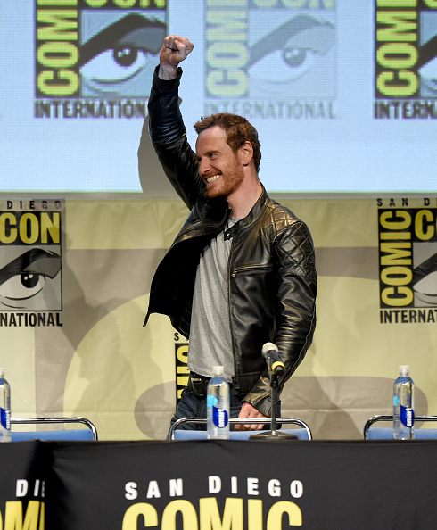 Michael Fassbender speaks onstage at the 20th Century FOX panel during Comic-Con International 2015 at the San Diego Convention Center on July 11, 2015 in San Diego, California.