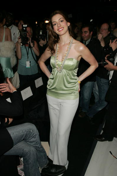 NEW YORK - FEBRUARY 06: Actress Anne Hathaway attends the Luca Luca Fall 2005 show during Olympus Fashion Week at Bryant Park February 6, 2005 in New York City. (Photo by Peter Kramer/Getty Images)