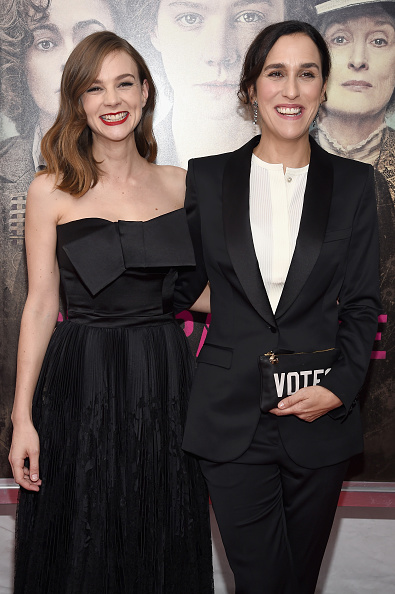 """NEW YORK, NY - OCTOBER 12: Actress Carey Mulligan (L) and director Sarah Gavron attend the """"Suffragette"""" New York Premiere at The Paris Theatre on October 12, 2015 in New York City. (Photo by Dimitrios Kambouris/Getty Images)"""