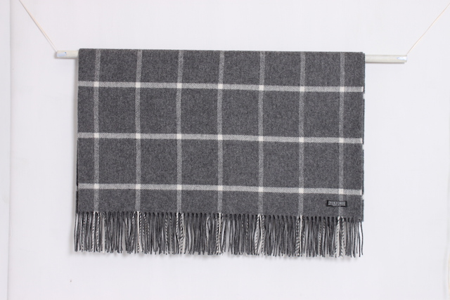 Grey and white Oxford Windowpane lambswool lap rug by Foxford Woollen Mills, worth €53 but free when you subscribe to Image Interiors & Living for €25