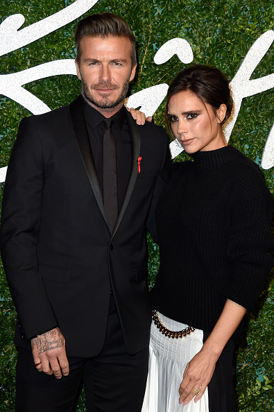 LONDON, ENGLAND - DECEMBER 01: David and Victoria Beckham attend the British Fashion Awards at London Coliseum on December 1, 2014 in London, England. (Photo by Pascal Le Segretain/Getty Images)