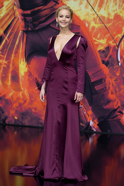 BERLIN, GERMANY - NOVEMBER 04: Actress Jennifer Lawrence, wearing a Dior dress, attends the world premiere of the film 'The Hunger Games: Mockingjay - Part 2' at CineStar on November 4, 2015 in Berlin, Germany. (Photo by Andreas Rentz/Getty Images)