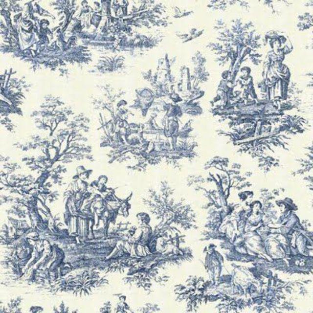 18th Century  Toile de Jouy indigo print