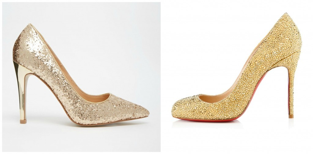 From left SAVE with Dune, €105, or SPLURGE on Christian Louboutin, €2,395