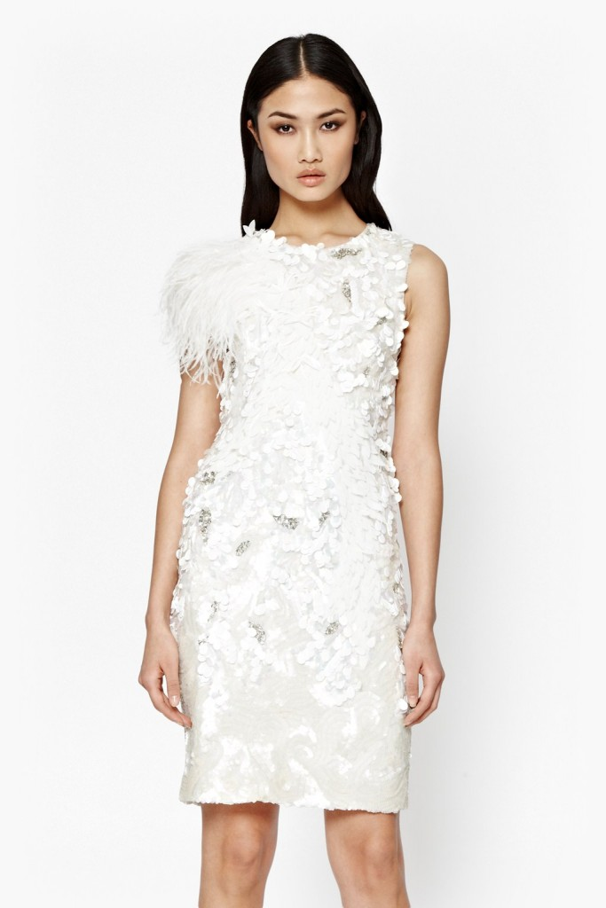 raven sequin dress with feather trim French Connection 399euro