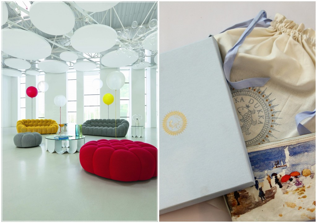 Colour pops at Roche Bobois; pretty purses and packaging at Ikka Dukka.