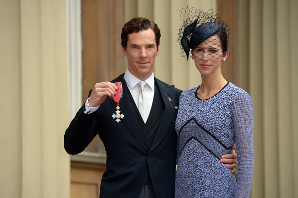 Actor Benedict Cumberbatch with his wife Sophie Hunter after receiving the CBE (Commander of the Order of the British Empire) from Queen Elizabeth II