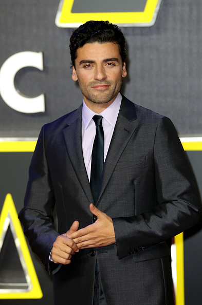 "oscar isaac attends the European Premiere of ""Star Wars: The Force Awakens"" at Leicester Square on December 16, 2015 in London, England."