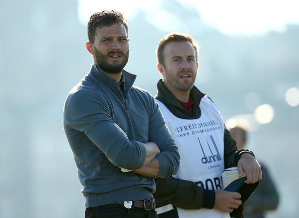 ST ANDREWS, SCOTLAND - OCTOBER 01: British actor Jamie Dornan on the second tee during the first round of the 2015 Alfred Dunhill Links Championship at The Old Course on October 1, 2015 in St Andrews, Scotland. (Photo by Ian Walton/Getty Images)
