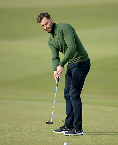 KINGSBARNS, SCOTLAND - OCTOBER 03: Jamie Dornan the film actor on the 12th hole during the third round of the 2015 Alfred Dunhill Links Championship at Kingsbarns on October 3, 2015 in Kingsbarns, Scotland. (Photo by David Cannon/Getty Images)