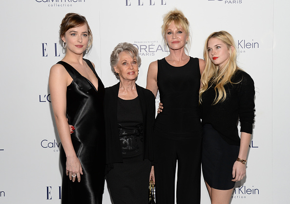 Actors Dakota Johnson, Tippi Hedren, Melanie Griffith and Stella Banderas attend the 22nd Annual ELLE Women in Hollywood Awards