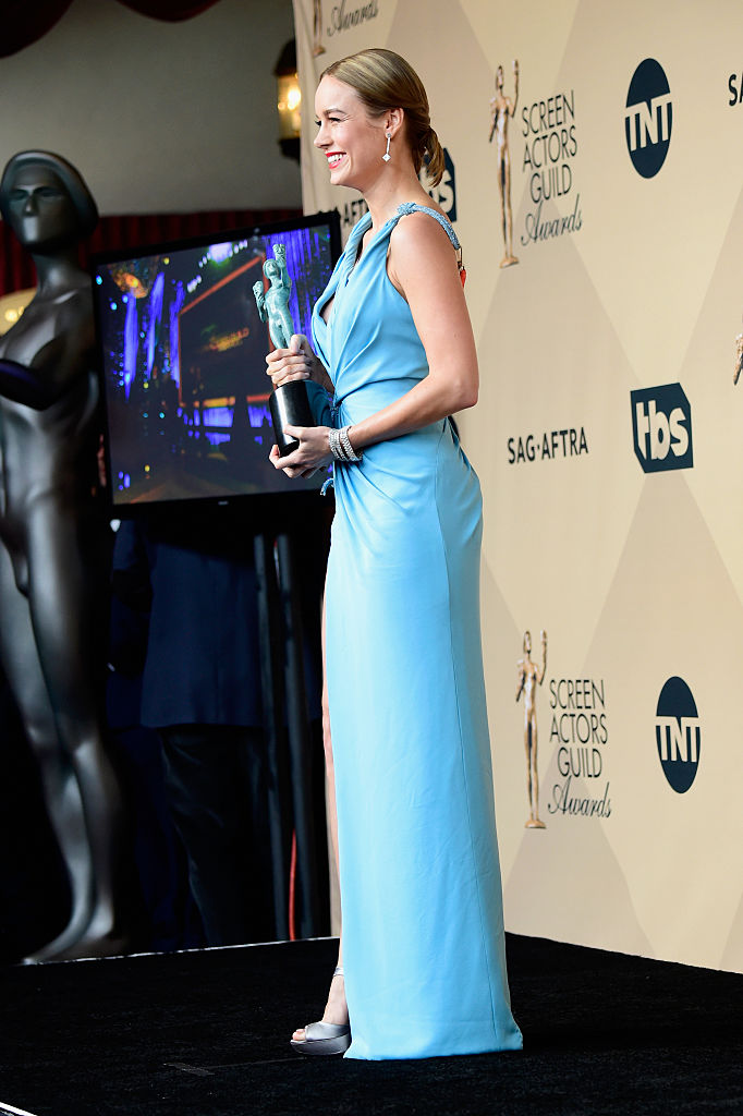 LOS ANGELES, CA - JANUARY 30: Actress Brie Larson winner of Outstanding Performance By a Female Actor in a Leading Role for'Room,' poses in the press room during the 22nd Annual Screen Actors Guild Awards at The Shrine Auditorium on January 30, 2016 in Los Angeles, California. (Photo by Frazer Harrison/Getty Images)