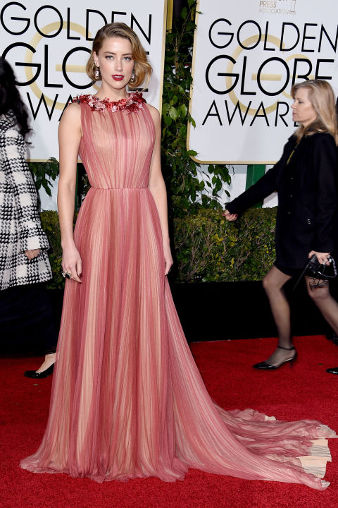 Amber Heard at the Golden Globes in Gucci.
