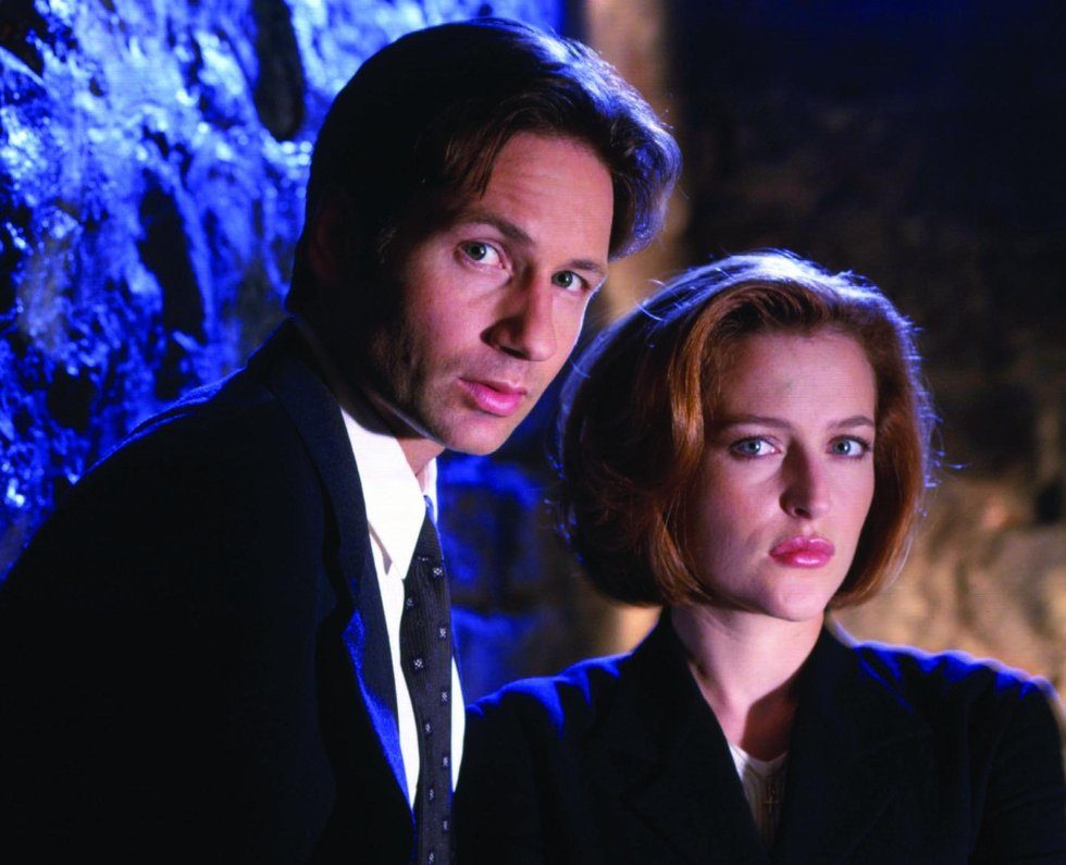 Anderson with co-star David Duchovny for the 1998 film version of The X-Files