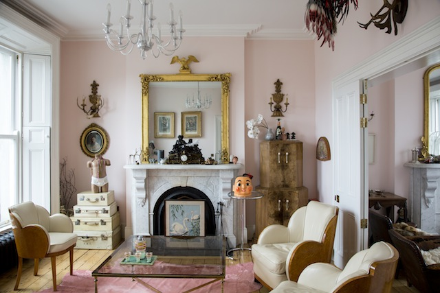 The middle floor, double living room exudes grandeur and Ruth's eclectic character.