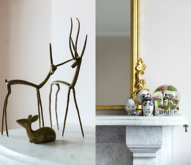 Left: Brass deer from Portobello market, London. Right: More of Ruth's eclectic pieces by a John Farington Mirror.