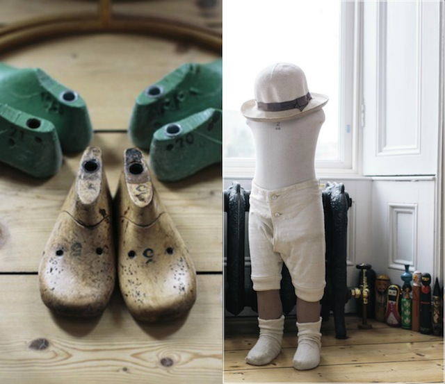 Left: Cobbler's lasts from an antique shop. Right: The mannequin is from a Parisian antique's shop.