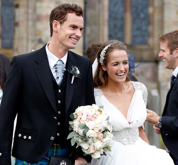 DUNBLANE, UNITED KINGDOM - APRIL 11: Andy Murray and Kim Sears leave Dunblane Cathedral after their wedding on April 11, 2015 in Dunblane, Scotland. (Photo by Alex B. Huckle/Getty Images)